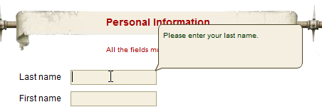 A popup telling you that the Last Name textfield should contain your last name